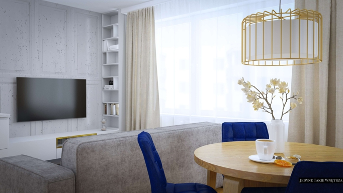 granat złoto w projekcie mieszkania Kraków