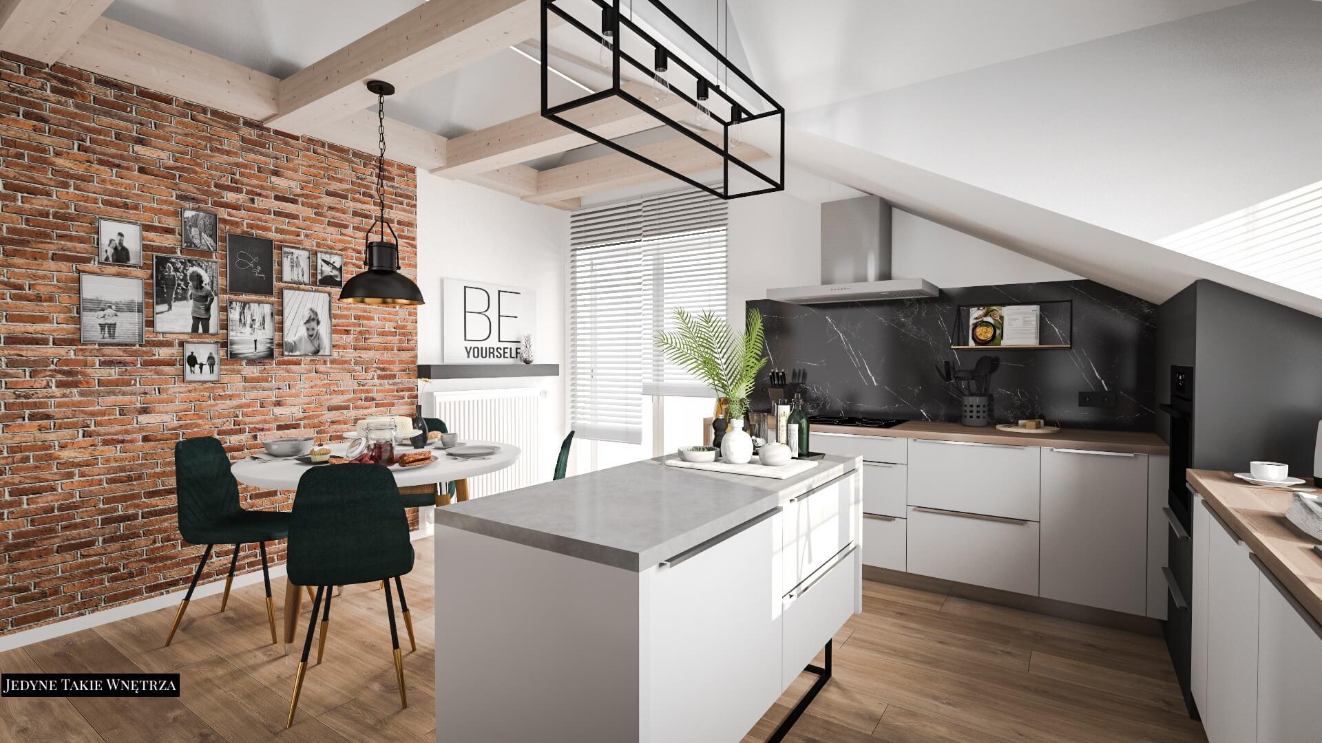 Aranzacja Mieszkania Kuchnia Na Poddaszu Krakow Projekt