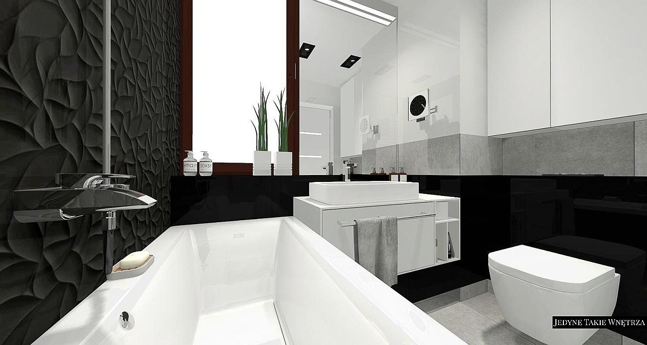 Biało-czarna designerska łazienka z płytkami 3d w Warszawie - Jedynetakiewnętrza