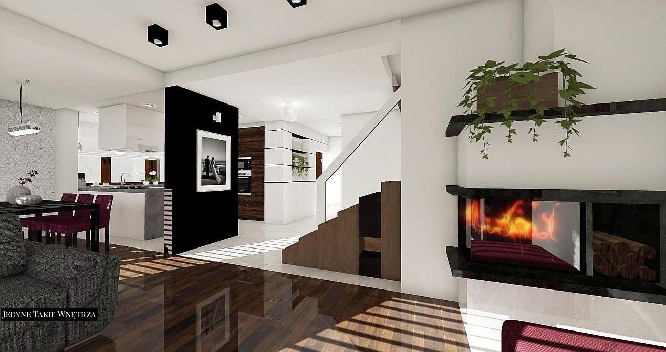Nowoczesne biało czarne wnętrze salonu przełamane czekoladowym brązem Czarno   -> Nowoczesna Kuchnia Najnowsze Trendy W Projektowaniu