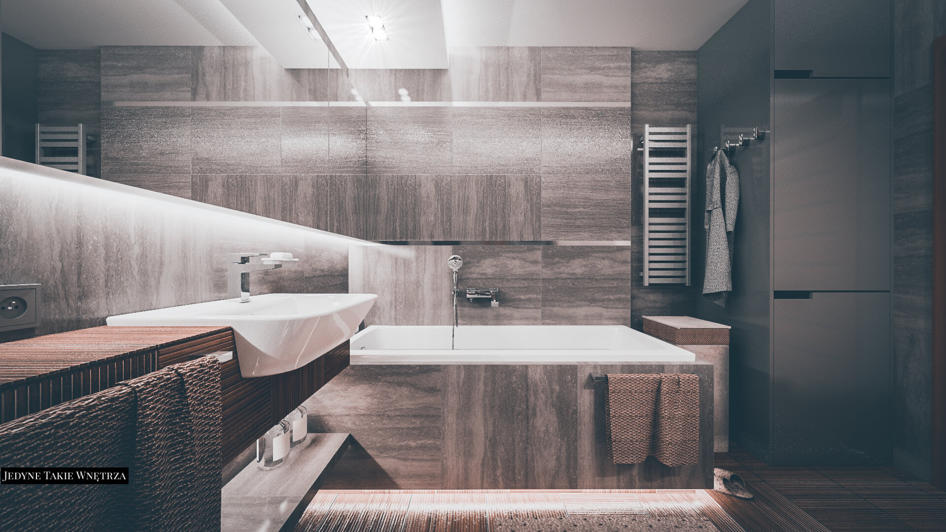 Ciemnoszara łazienka W Kamieniu I Drewnie Jedynetakiewnętrza