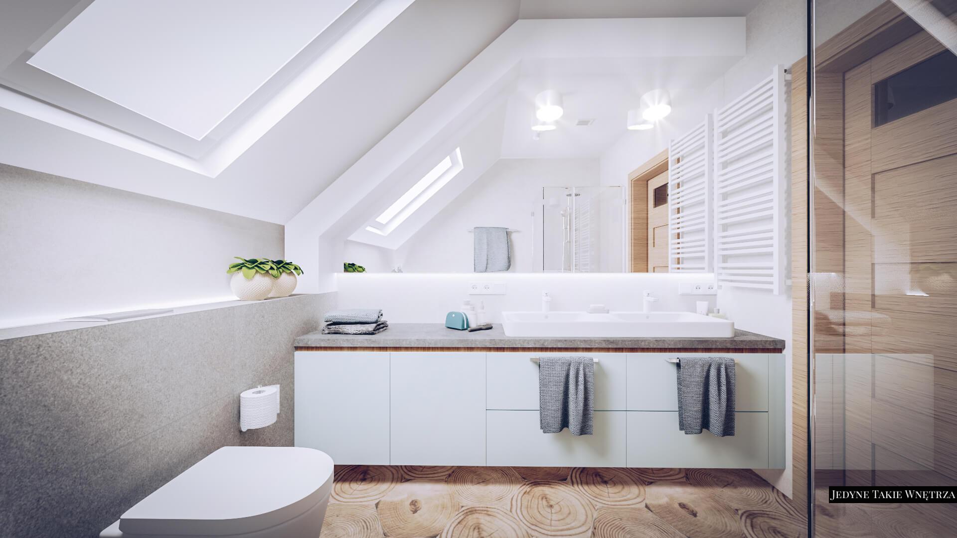 Drewniane Płytki Heksagonalne W łazience Na Poddaszu