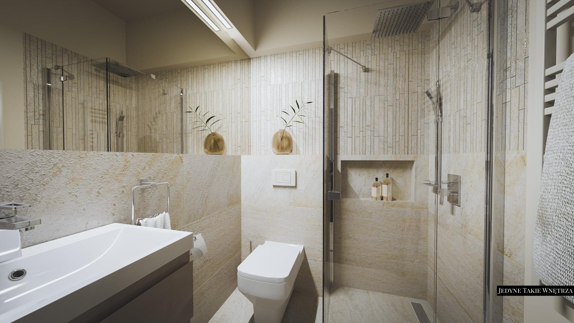 Mała łazienka Z Prysznicem I Kamienną Mozaiką